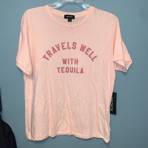 Wildfox Travels Well With Tequila Pink T-Shirt